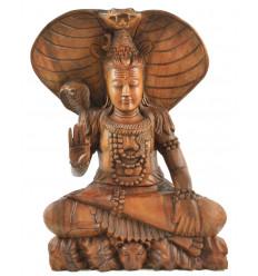 Grande statue de Shiva 50cm en bois exotique entièrement sculptée à la main - Pièce d'exception zoom visage
