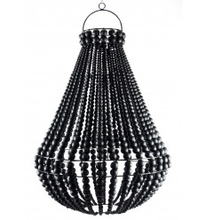 Lustre chandelier en perles de bois noir et fer forgé artisanal ø40cm