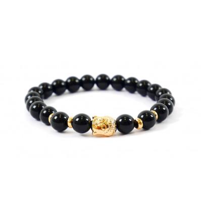 Bracelet en Onyx naturel + perle Bouddha dorée. Livraison gratuite.
