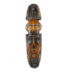 Mask smoking pipe carved wood and hand painted 30cm