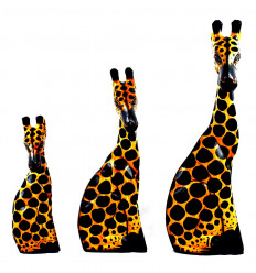 Set de 3 Statues Girafes en Bois Déco Savane Safari Artisanat