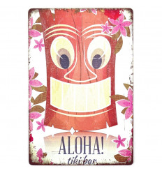 """Poster Métallique """"Aloha! Tiki Bar"""" Décoration Murale Exotique 30cm"""