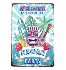 Poster Métallique Tiki Hawaï Party Décoration Murale Exotique 30cm
