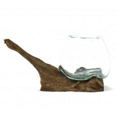 Vase blown glass on teak root wood 40cm - Large model