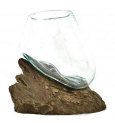 Vase blown glass on teak root wood 12cm single-Piece - Small model