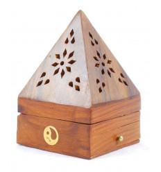 Porte-encens pour cônes - boîte à encens en bois avec tiroir forme pyramide motif Yin Yang