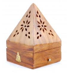 Porte-encens pour cônes - boîte à encens en bois avec tiroir forme pyramide motif Bouddha