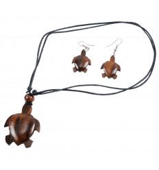 Parure BOIS collier + boucles d'oreilles Tortue. Livraison gratuite !