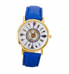 Watch woman motif feathers, bracelet purple. Delivery France Free !