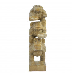 "The 3 monkeys stacked ""secret of happiness"". Statuette in solid wood, H30cm"