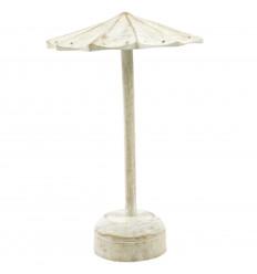 Présentoir à boucles d'oreilles forme parasol en bois massif blanc cérusé