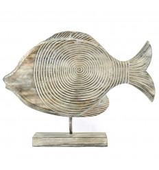 Fish to raise in bois blanc cérusé 38cm