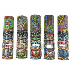 Lot of 5 Masks Tiki 50cm Black Wood and Colorful Hand Made