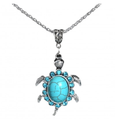 Necklace bohemian with pendant Turtle turquoise. Free shipping !
