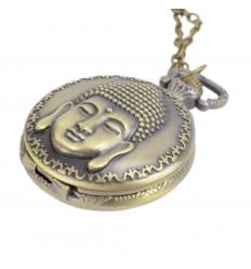 Collier long Sautoir avec pendentif montre à gousset Bouddha doré