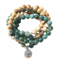 Bracciale Mala 108 perle di Amazzonite - Simbolo, fiore di Loto