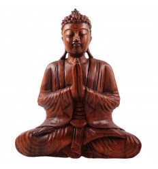 Statue of Buddha sitting hands clasped in wood, h30cm
