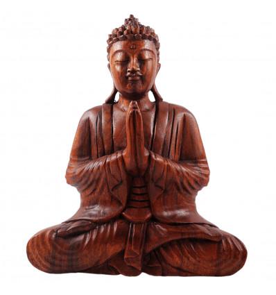 Achat statue Bouddha méditation assis mains jointes en bois fait main.