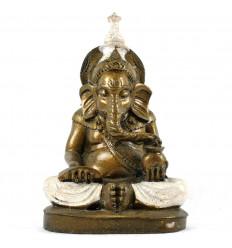 Statue Ganesh Assis Doré et Blanc en Résine Artisanale 20cm