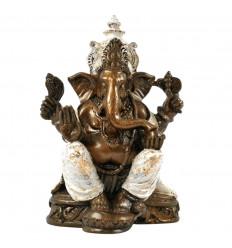 Statue de Ganesh Assis Doré et Blanc en Résine Artisanale 25cm
