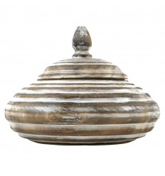 Round Box in Patinated Brown Wood 25cm Bohemian Artisanal Deco