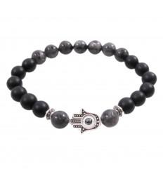 Bracelet Main de Fatima en Onyx et labradorite naturels