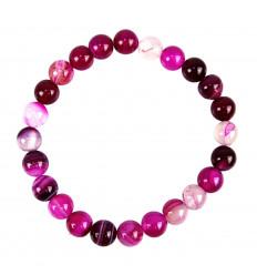 Bracelet lithotherapie en agate rose, vertus propriétés, chance.