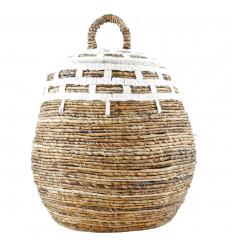 Abaca Braided Storage Basket Ø40cm and Macrame Decorations