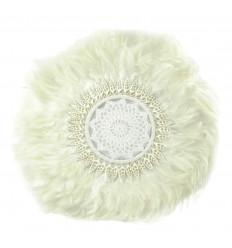 Juju Hat Blanc Artisanal à Plumes et Coquillages ø40cm