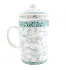 Tazza per preparare tè in porcellana, motivo floreale blu. 3-in-1, in pratica.