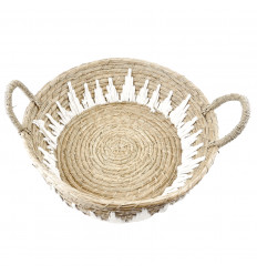 Large round abaca and macrame tray ø45cm - Ethnic chic table decoration