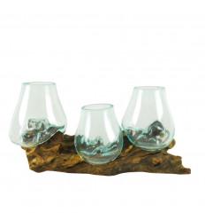 Decorazione da Tavola 3 Vasi in Vetro Soffiato su Radica di Teak