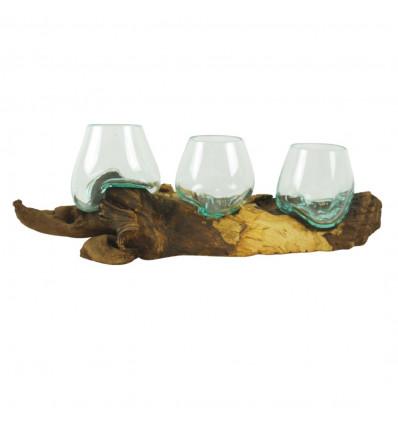 Triple Vase en Verre Fondu sur Racine de Teck, Déco Style Bohème Chic