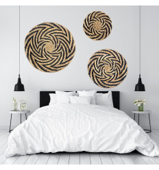 Ethnic Wall Basket in Hand Braided Abaca. Ethnic Chic Wall Deco