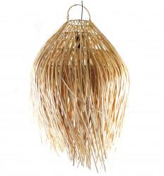 Lampada a sospensione Bohème Chic in rattan spettinato. Creazione artigianale di Bali