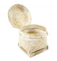 Boîte en rotin et bambou blanchi