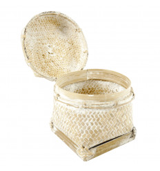 Rattan and bleached bamboo box