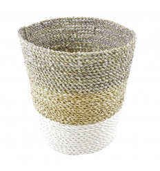 Tricolor Braided Seagrass Basket