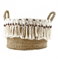 Round Basket 35cm in Natural Seagrass, White Macrame and Brown Wood Pearls Handles