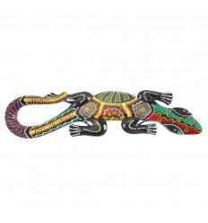 Lucertola decorativa 50 cm in legno intagliato e dipinto a mano nei colori rasta giamaicani