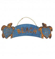 """Plaque Déco Murale Tortue """"Beach"""" en bois 50x15cm - Bleu vue face"""