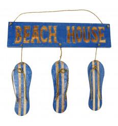 """Plaque de porte décor tongs et inscription """" Beach House"""" - coloris bleu vue face"""