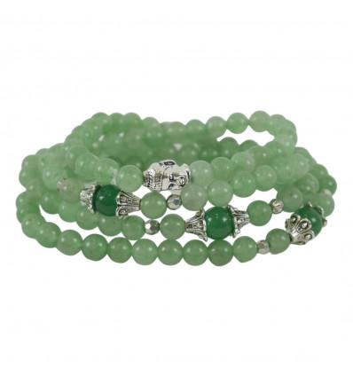 Bracelet Mala 108 beads rose Quartz, Amethyst & pearl Buddha.