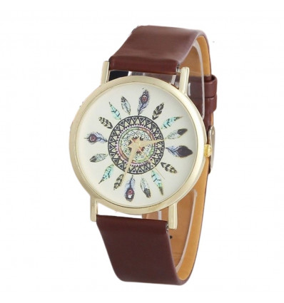 Watch woman motif, feathers, bracelet, brown. Free shipping.