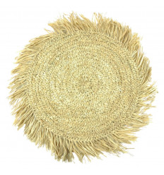 Round Placemat with Fringes in Natural Raffia - front view