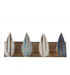 Tavola da surf in legno con 4 ganci 40x16cm - vista frontale