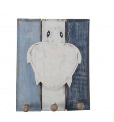 White Sea Turtle Decor 3 Ganci Gancio in legno 30-23cm