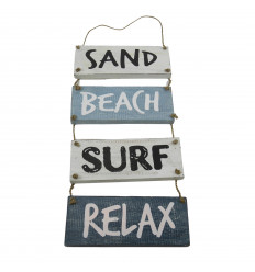 "Seaside Style Hanging Wall Decoration ""Sand, Beach, Surf, Relax"" 53x20cm"