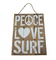 """Peace, Love, Surf"" Wooden Wall Deco Plaque 40x30cm"