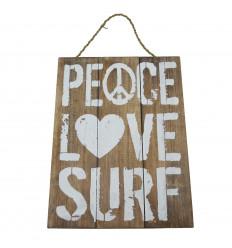 """Plaque Déco Murale en Bois """" Peace, Love, Surf """" 40x30cm"""